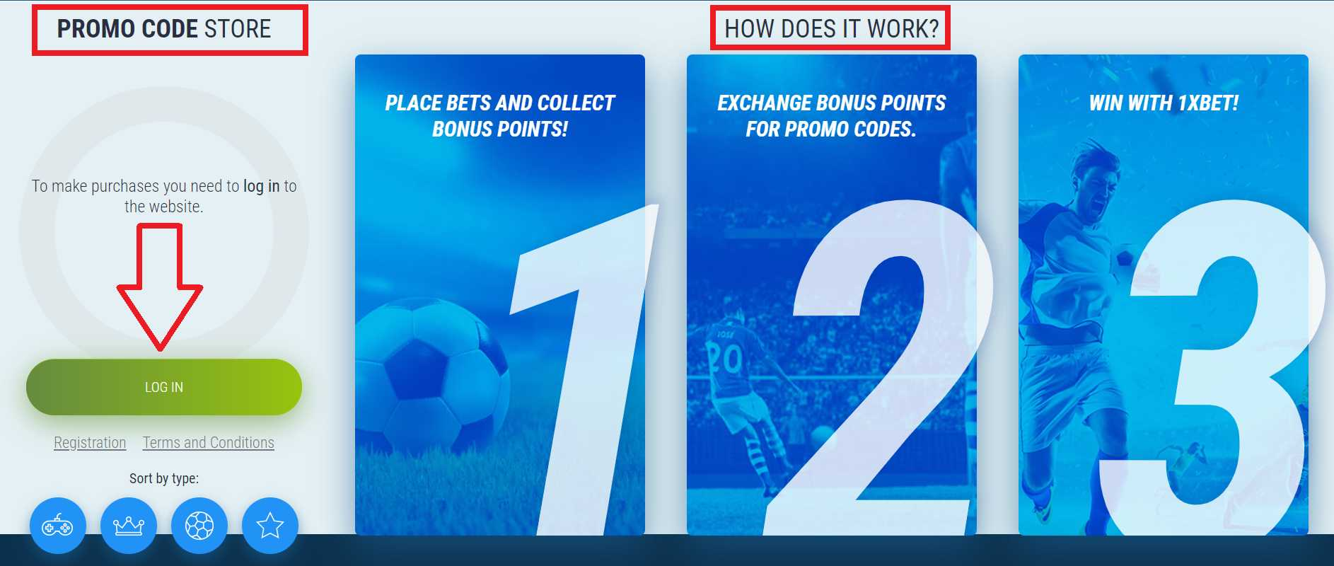 Where can you find unique codes from the 1xBet company