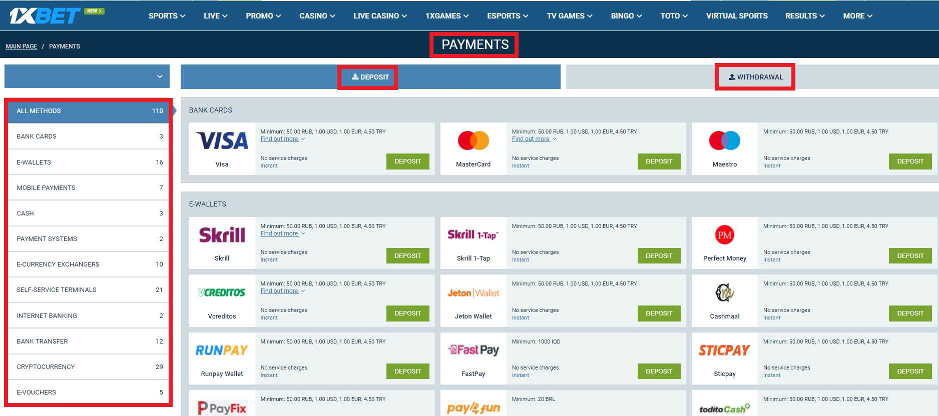 What payment methods available at 1xBet allow getting bonuses?